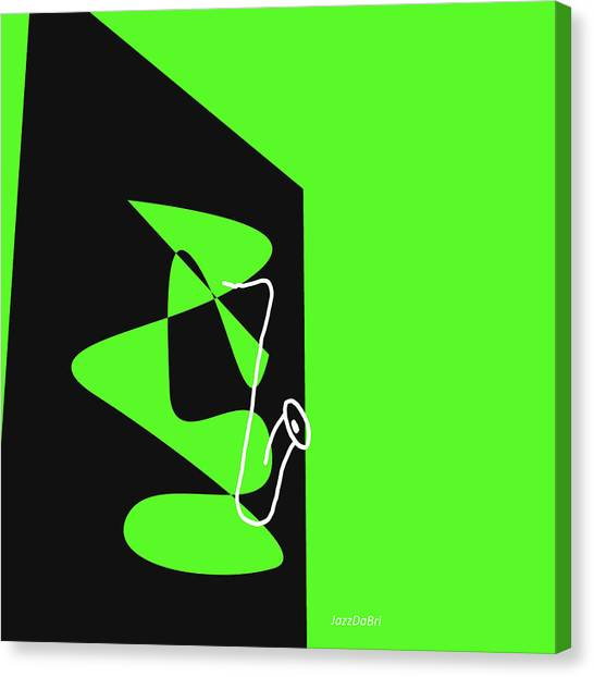 Saxophone In Green Canvas Print
