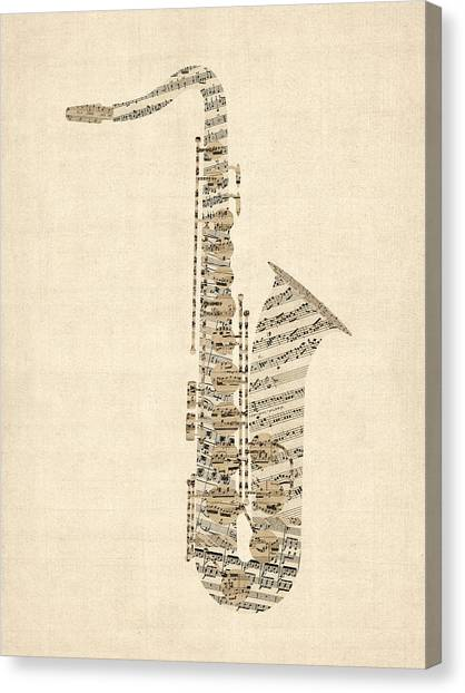 Saxophone Canvas Print - Saxophone Old Sheet Music by Michael Tompsett