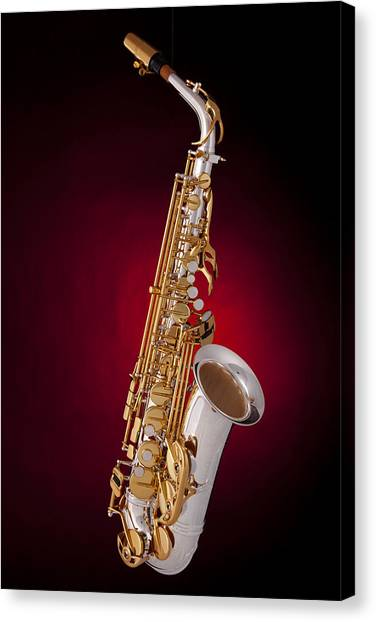 Saxophone On Red Spotlight Canvas Print