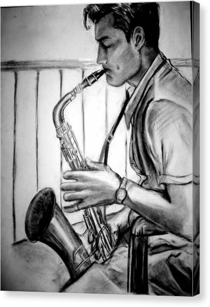 Saxophone Player Canvas Print by Laura Rispoli