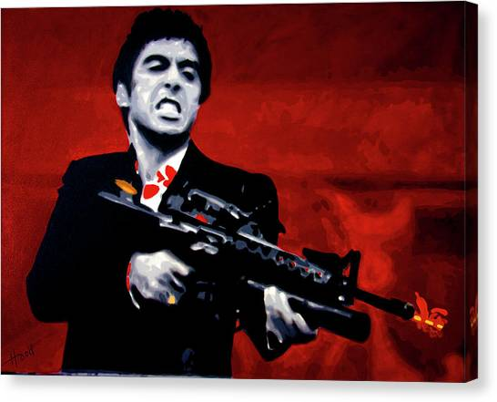 Hip Hop Canvas Print - Say Hello To My Little Friend  by Hood alias Ludzska