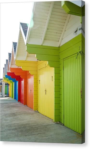 Beach Cabin Canvas Print - Scarborough Beach Huts by Chris Dale