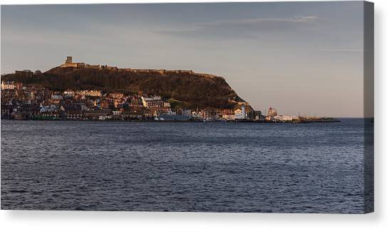 Canvas Print featuring the photograph Scarborough Castle by Paul Indigo