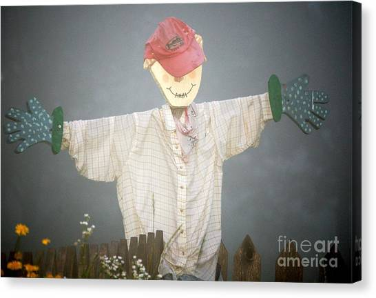 Scarecrow In Fog Canvas Print by Diane E Berry