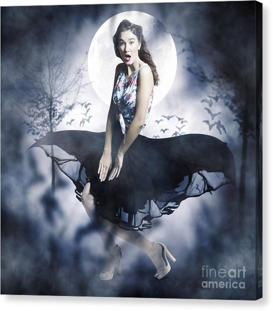 Canvas Print featuring the photograph Scared Young Woman In Eerie Halloween Forest  by Jorgo Photography - Wall Art Gallery