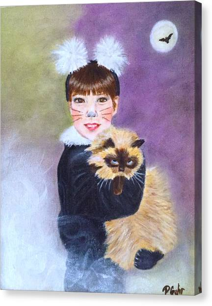 Himalayan Cats Canvas Print - Scaredy Cat Hallows Eve by Dr Pat Gehr