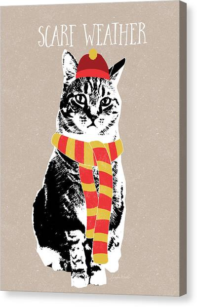 Humour Canvas Print - Scarf Weather Cat- Art By Linda Woods by Linda Woods