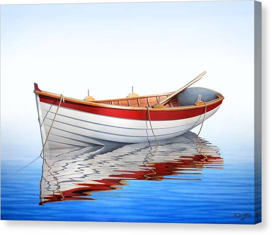 Boat Canvas Print - Scarlet Reflections by Horacio Cardozo