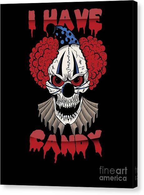 Canvas Print - Scary Candy Clown Halloween Costume by Thomas Larch
