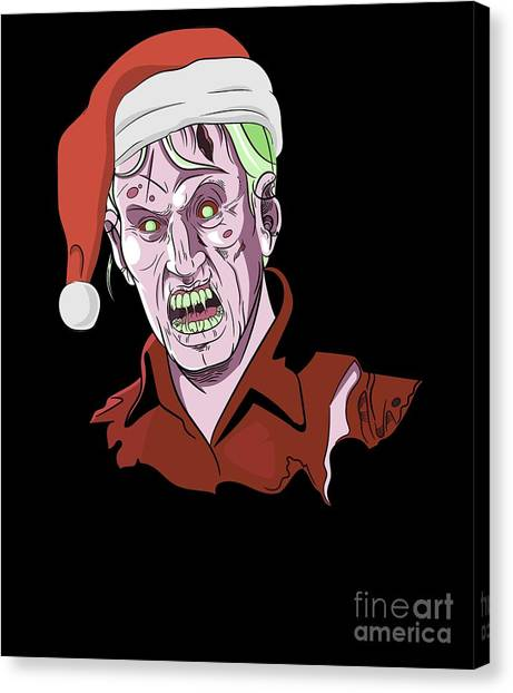Canvas Print - Scary Christmas Zombie by Thomas Larch