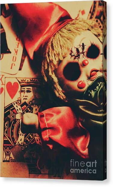 Doll Canvas Print - Scary Doll Dressed As Joker On Playing Card by Jorgo Photography - Wall Art Gallery