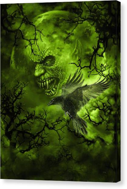 Canvas Print featuring the digital art Scary Moon by Uwe Jarling