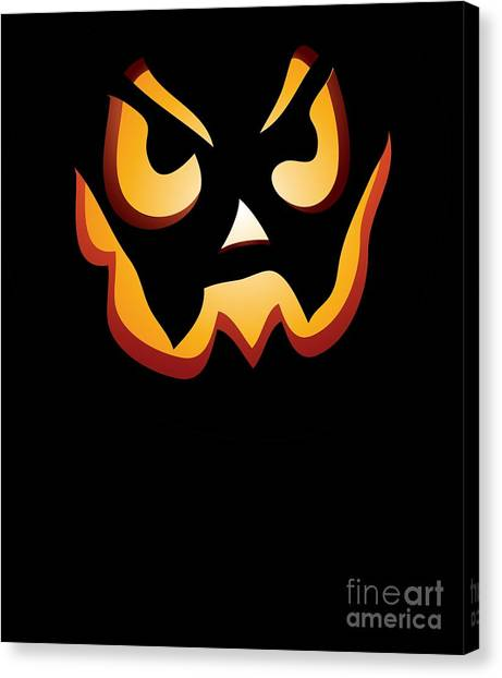 Canvas Print - Scary Pumpkin Face Halloween Costume by Thomas Larch