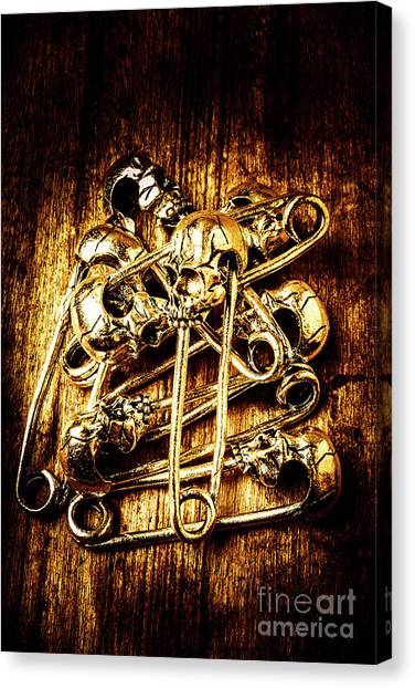 Skeletons Canvas Print - Scary Safety Pins by Jorgo Photography - Wall Art Gallery