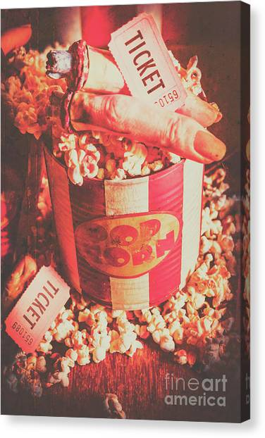Popcorn Canvas Print - Scary Vintage B-grade Horror Movies by Jorgo Photography - Wall Art Gallery