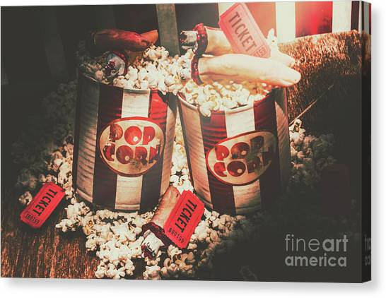 Popcorn Canvas Print - Scary Vintage Entertainment by Jorgo Photography - Wall Art Gallery