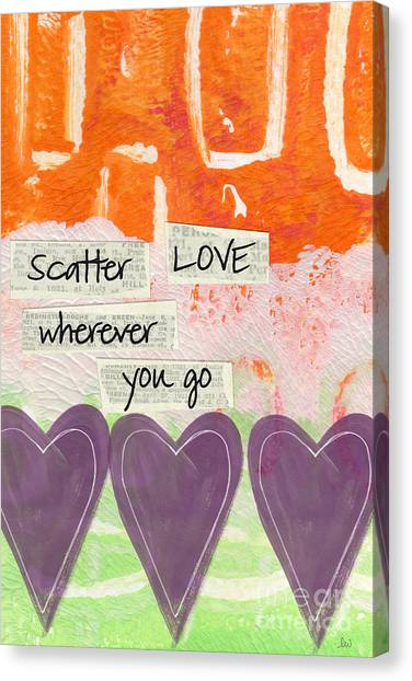 Bedroom Canvas Print - Scatter Love by Linda Woods
