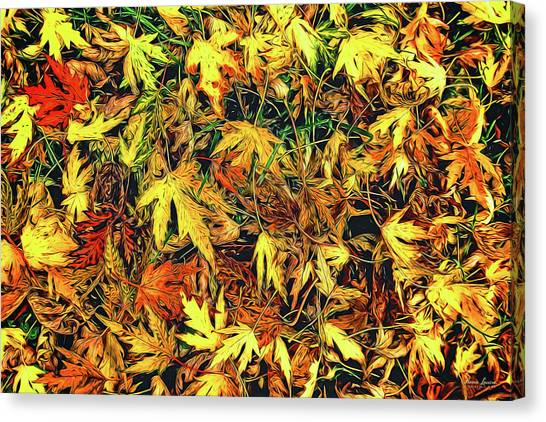 Scattered Autumn Leaves Canvas Print