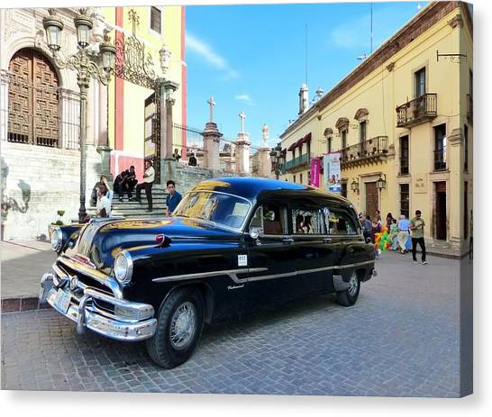 Funeral Car In Guanajuato Canvas Print
