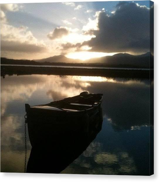 Lake Sunrises Canvas Print - #scenery #boat #nature #sunrise #lake by Jemma Walsh