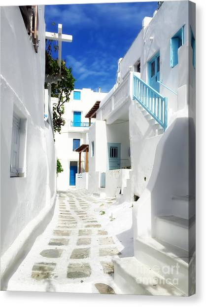 Greece Canvas Print - Scenic Mykonos by HD Connelly