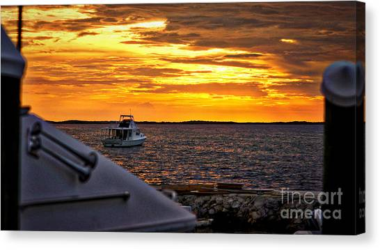 Scenic Sunset On The Keys Canvas Print by Dieter  Lesche