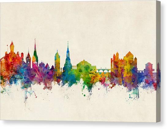 Switzerland Canvas Print - Schaffhausen Switzerland Skyline by Michael Tompsett