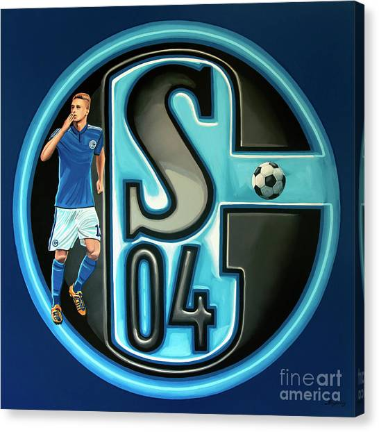 Soccer Balls Canvas Print - Schalke 04 Gelsenkirchen Painting by Paul Meijering