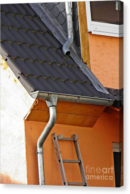 Drain Pipe Canvas Print - Schierstein In Detail 1 by Sarah Loft