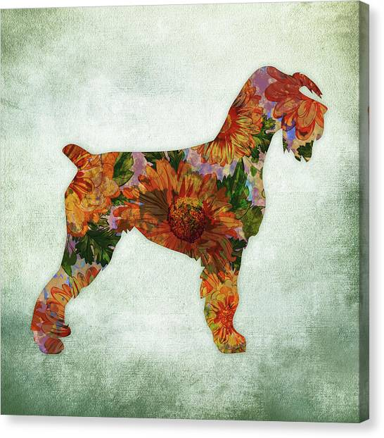 Watercolor Pet Portraits Canvas Print - Schnauzer Floral On Green by Flo Karp