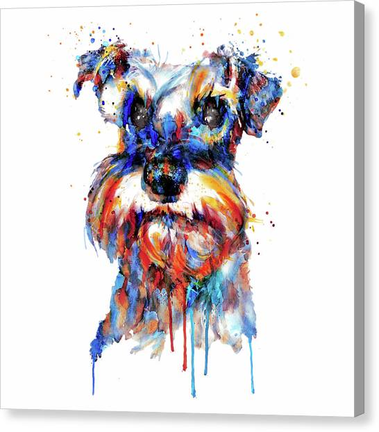 Schnauzers Canvas Print - Schnauzer Head by Marian Voicu