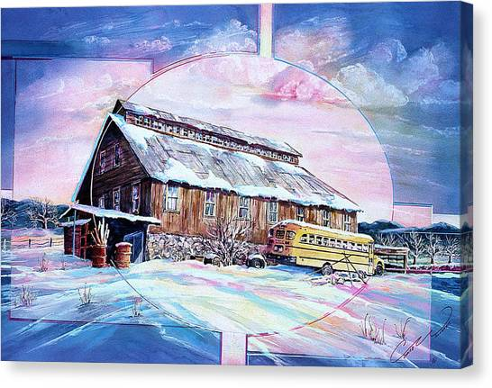 School Bus And Barn Canvas Print