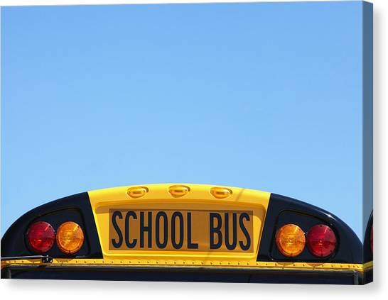 Turn Signals Canvas Print - School Bus Rooftop by Skip Nall