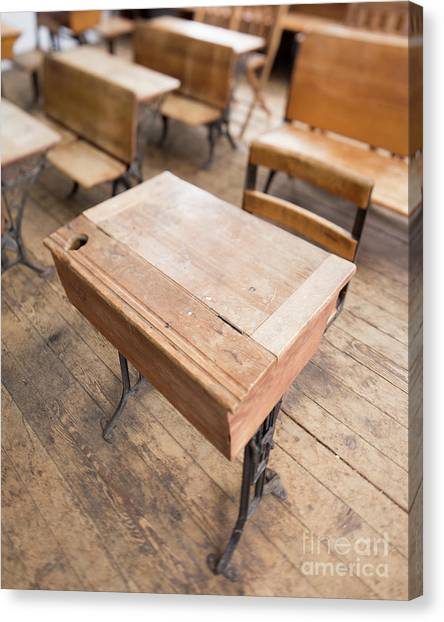 Canvas Print featuring the photograph School Desks In A One Room School Building by Edward Fielding
