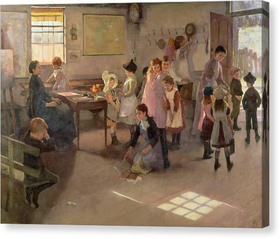 Schoolrooms Canvas Print - School Is Out by Elizabeth Adela Stanhope Forbes