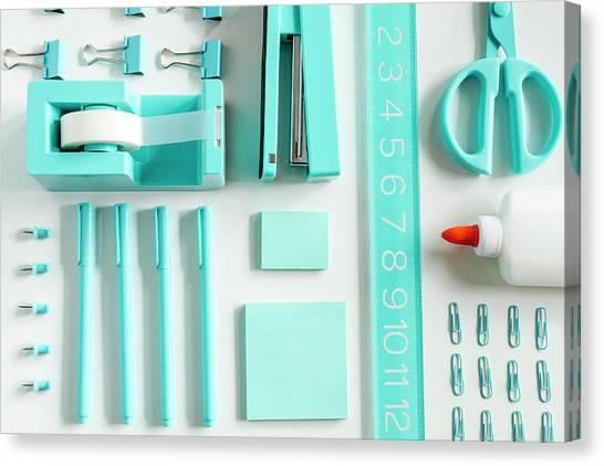 Binders Canvas Print - School Supplies In Blue by Teri Virbickis