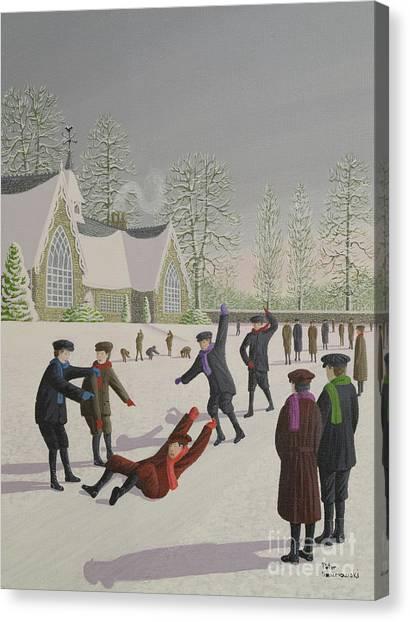 Snowball Canvas Print - School Yard Sliding by Peter Szumowski
