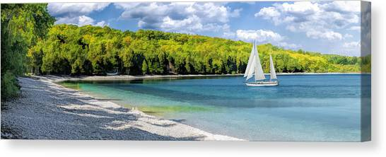Schoolhouse Beach Panorama On Washington Island Door County Canvas Print