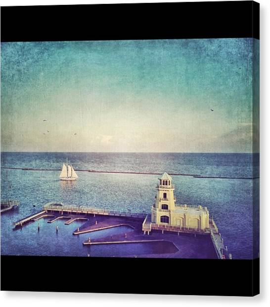 Lighthouses Canvas Print - Schooner And Lughthouse #iphone6 by Joan McCool