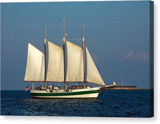Schooner By Fort Sumter Canvas Print