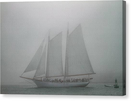 Schooner In Fog Canvas Print