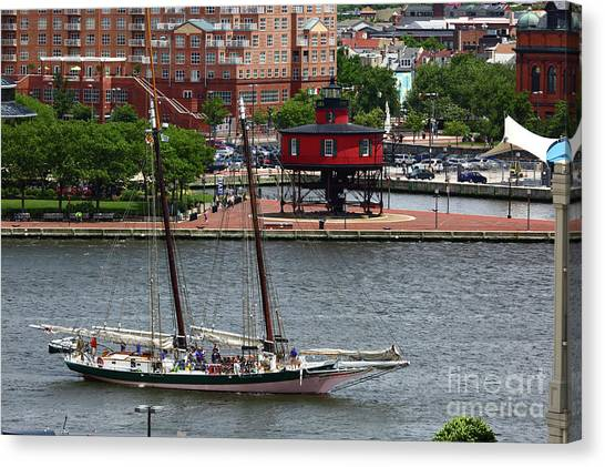 Schooner Lady Maryland Leaving Inner Harbor Baltimore Canvas Print
