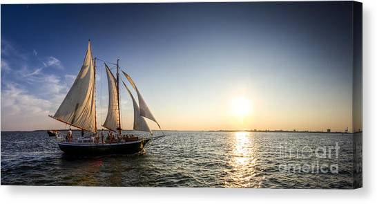 Coast Guard Canvas Print - Schooner Welcome Sunset Charleston Sc by Dustin K Ryan