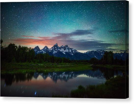 Teton Canvas Print - Schwabacher Nights by Darren White