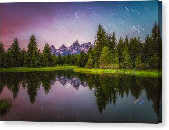 Teton Canvas Print - Schwabacher Stars by Darren  White