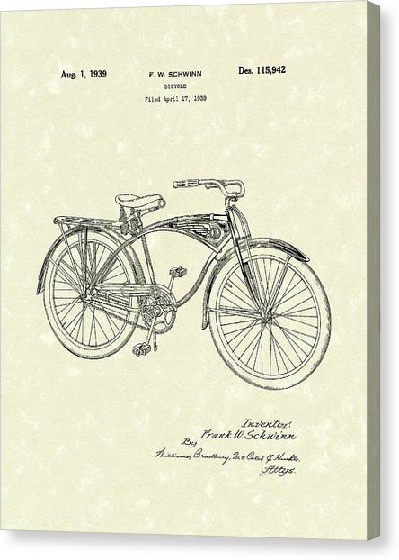 Schwinn Bicycle 1939 Patent Art Canvas Print