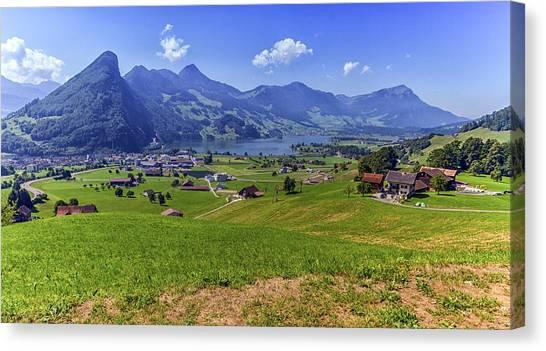 Schwyz And Zurich Canton View, Switzerland Canvas Print