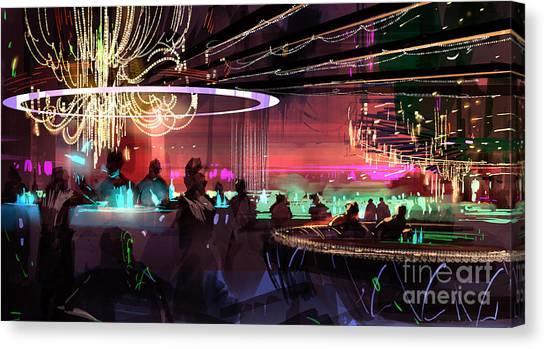 Canvas Print featuring the painting Sci-fi Lounge by Tithi Luadthong