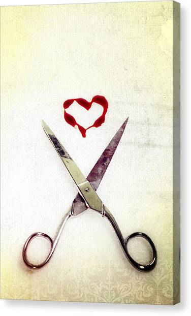 Scissors And Heart Canvas Print