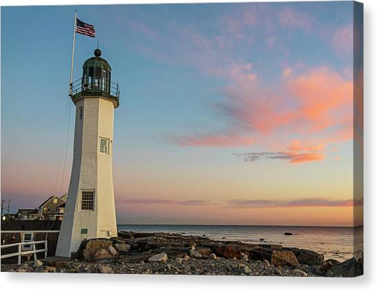 Scituate Lighthouse Scituate Massachusetts South Shore At Sunrise Canvas Print